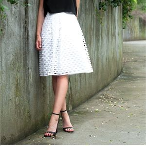 J. Crew White Laser Cut Circle Midi Skirt